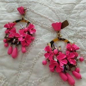 JCrew pink flower earrings